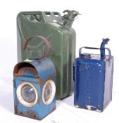 20TH CENTURY 20L METAL JERRY CAN, PARAFFIN DISPENSER AND ROAD LAMP