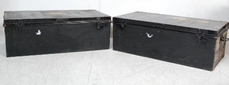 COLLECTION OF THREE VINTAGE INDUSTRIAL 20TH CENTURY STEAMER TRUNKS