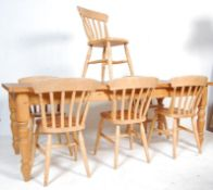 LARGE VINTAGE 20TH CENTURY PINE REFECTORY TABLE AND CHAIRS