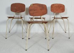 SET OF FOUR RETRO VINTAGE 20TH CENTURY STACKING CHAIRS
