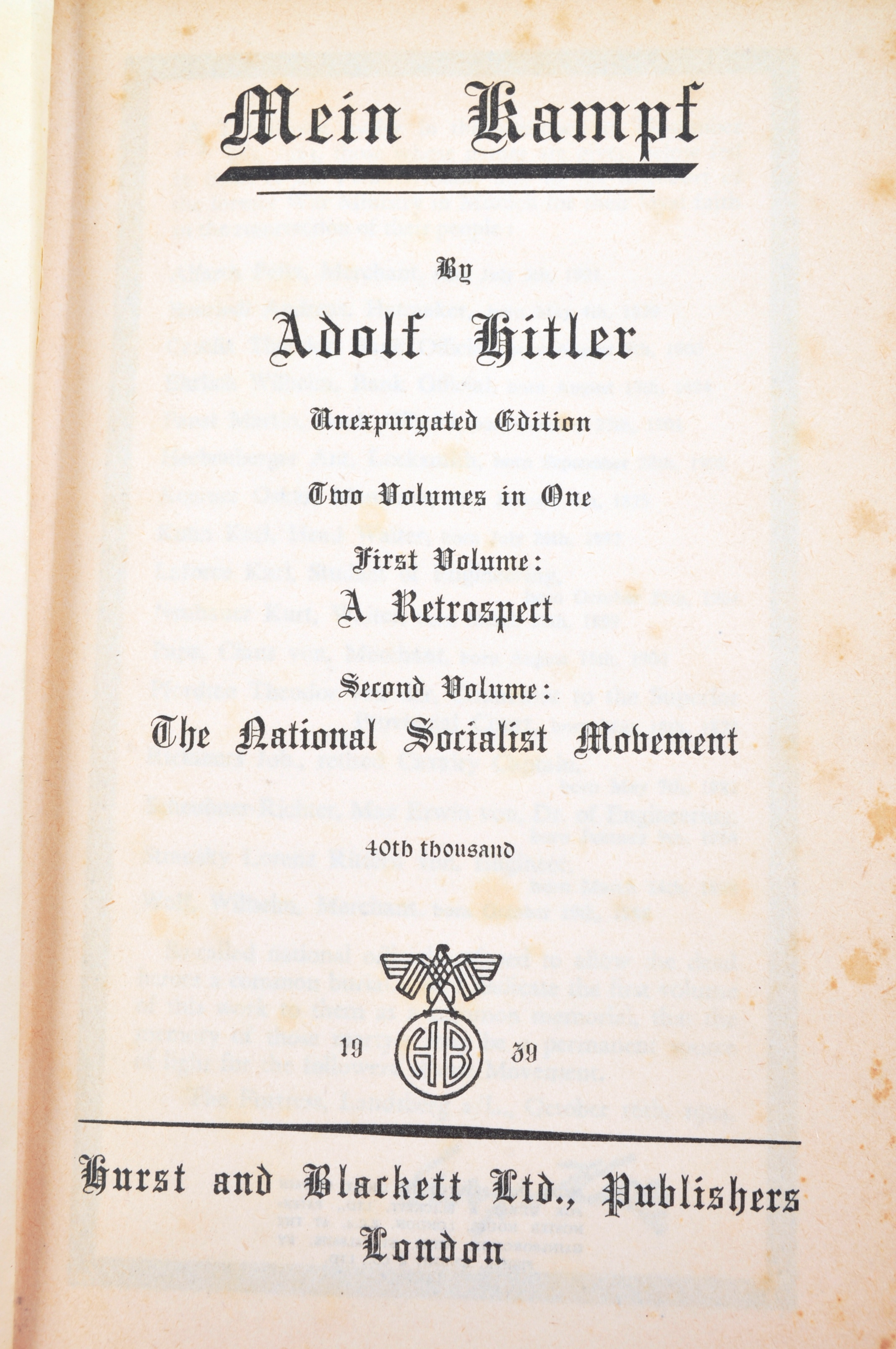 ADOLF HITLER - MEIN KAMPF - 1ST ENGLISH EDITION 1939 - Image 3 of 9