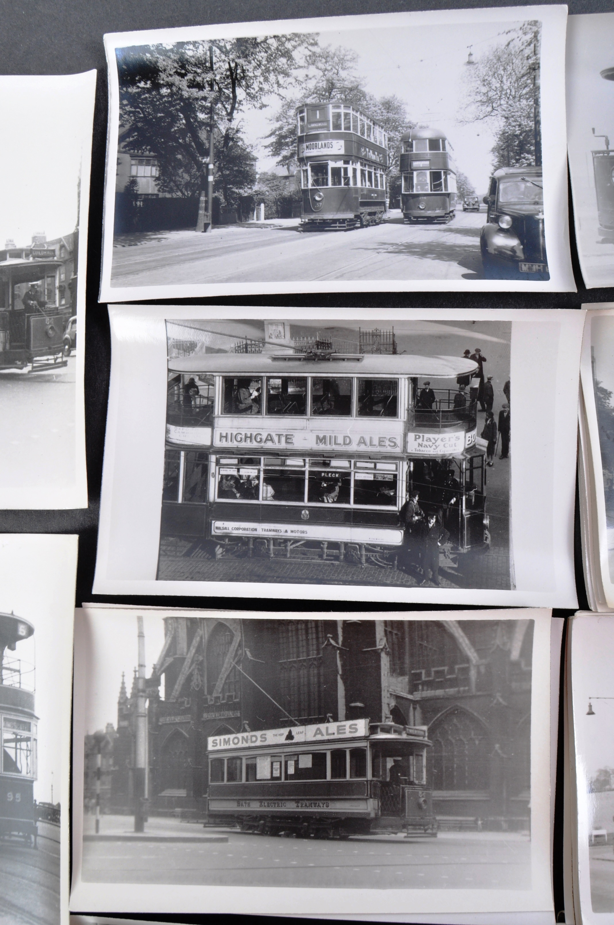 TRAMS & TROLLEY BUSES - LARGE COLLECTION OF BLACK AND WHITE PHOTOS - Image 5 of 9