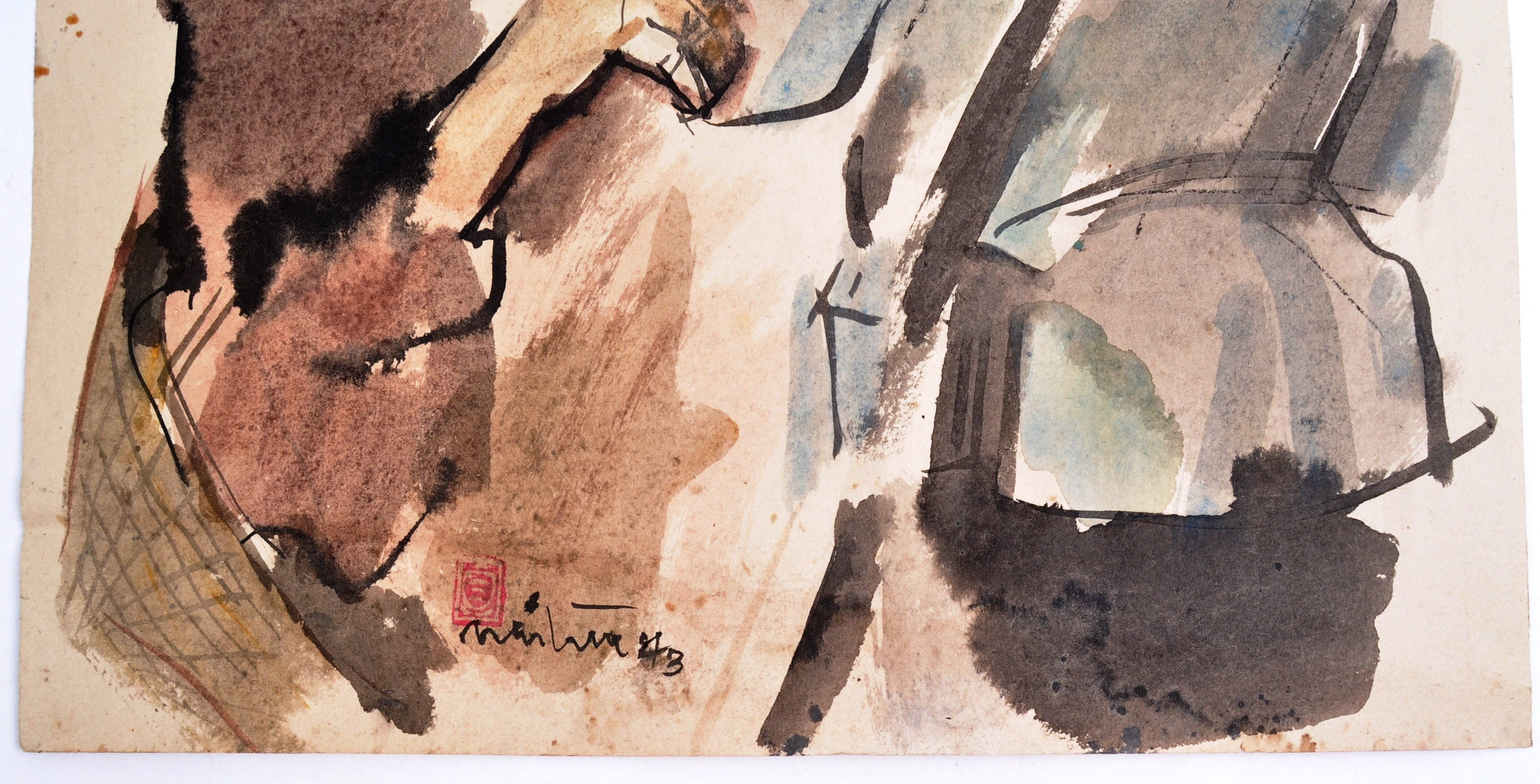 WWII SECOND WORLD WAR WATERCOLOUR PAINTING OF NAZI 1943 - Image 2 of 6