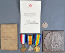 WWI FIRST WORLD WAR MEDAL GROUP & PLAQUE - GRENADIER GUARDS KIA