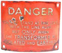 RAILWAY - ORIGINAL VINTAGE CURVED ENAMEL DANGER SIGN