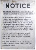 WWII SECOND WORLD WAR LARGE ' NOTICE ' METAL WALL SIGN
