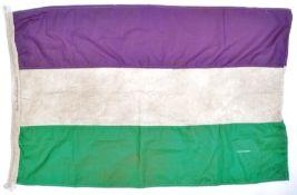SUFFRAGETTE INTEREST - LARGE WSPU TRI-COLOUR FLAG