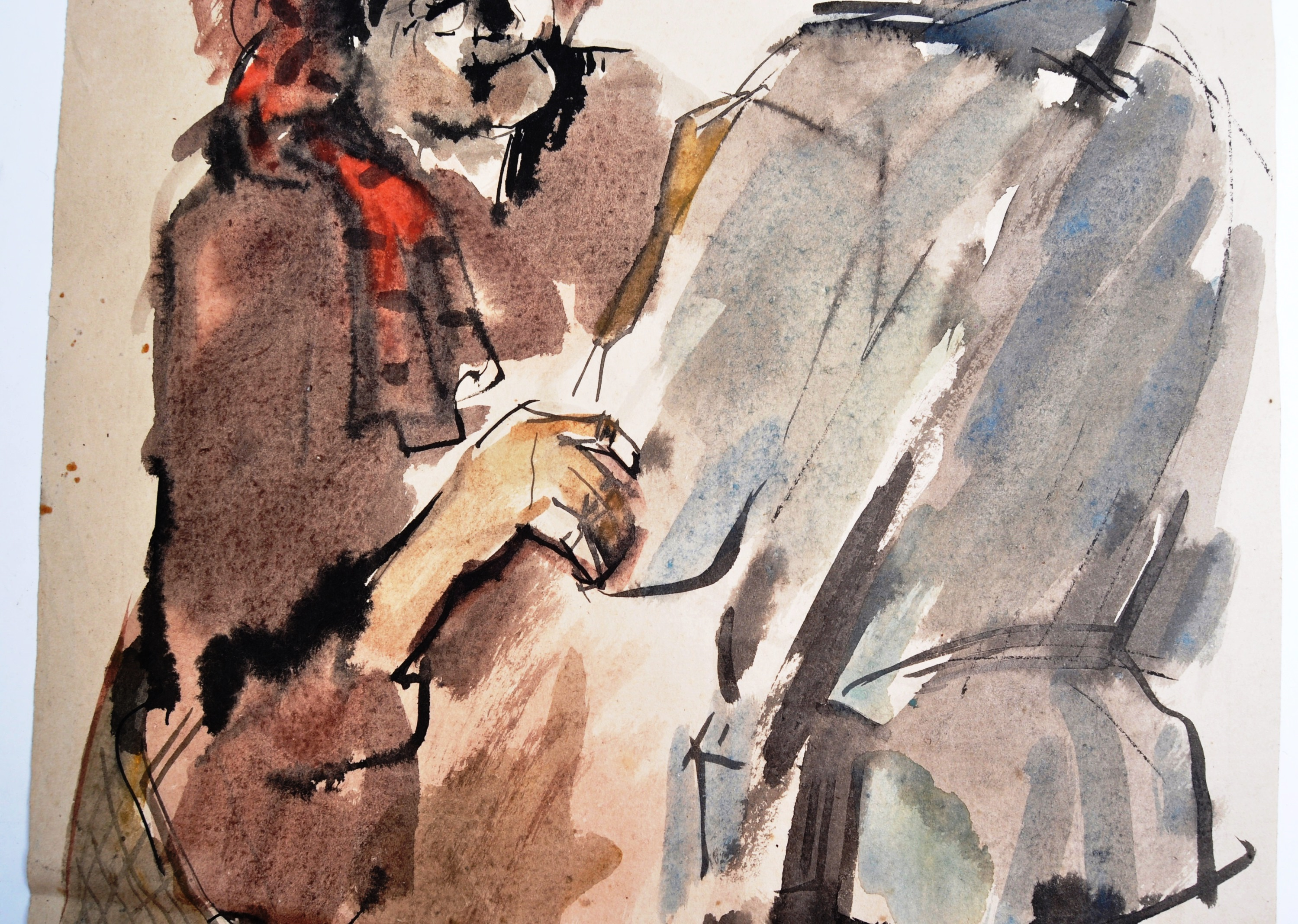 WWII SECOND WORLD WAR WATERCOLOUR PAINTING OF NAZI 1943 - Image 4 of 6