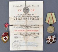 WWII SECOND WORLD WAR RUSSIAN STALINGRAD RELATED MEDAL GROUP