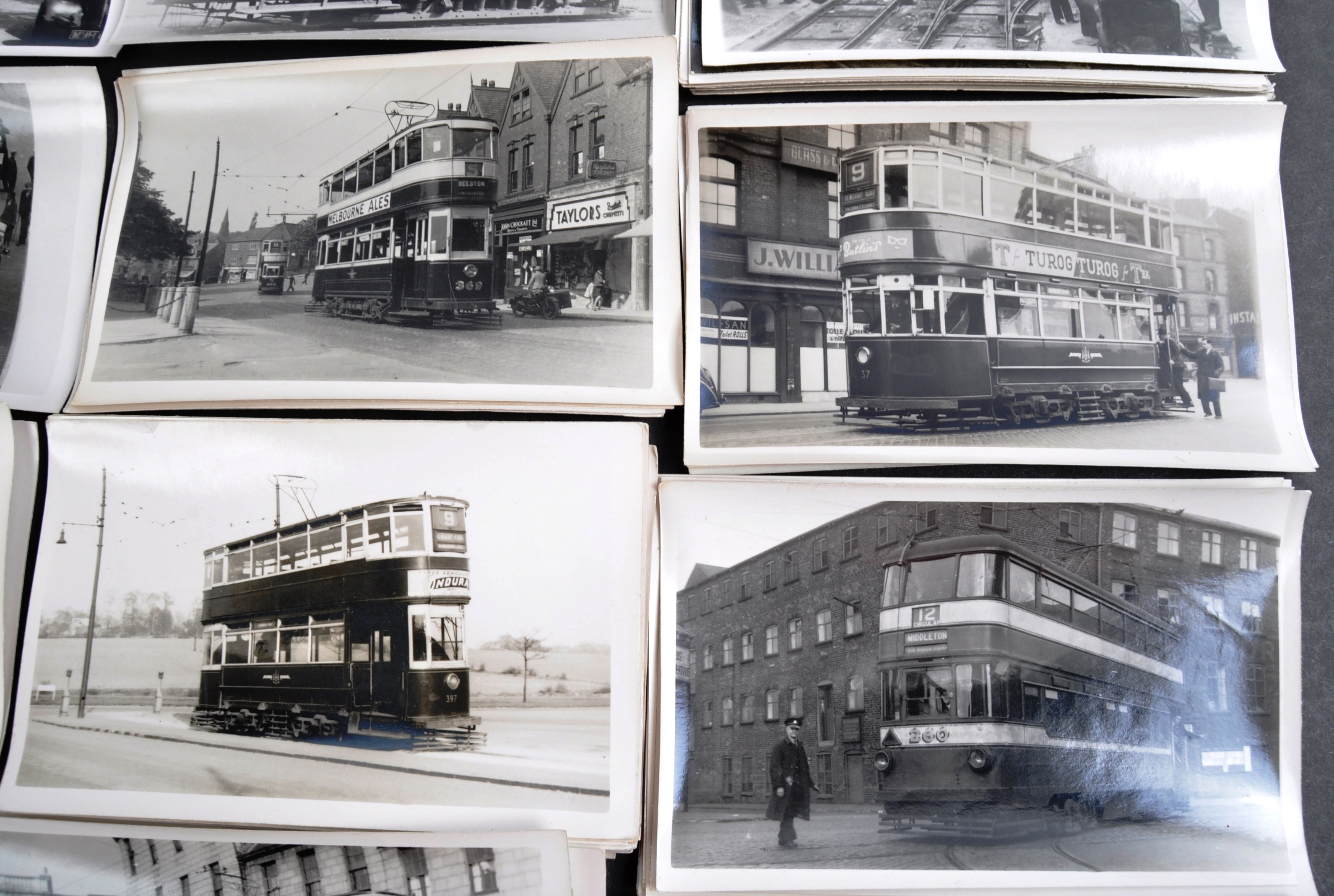 TRAMS & TROLLEY BUSES - LARGE COLLECTION OF BLACK AND WHITE PHOTOS - Image 3 of 9