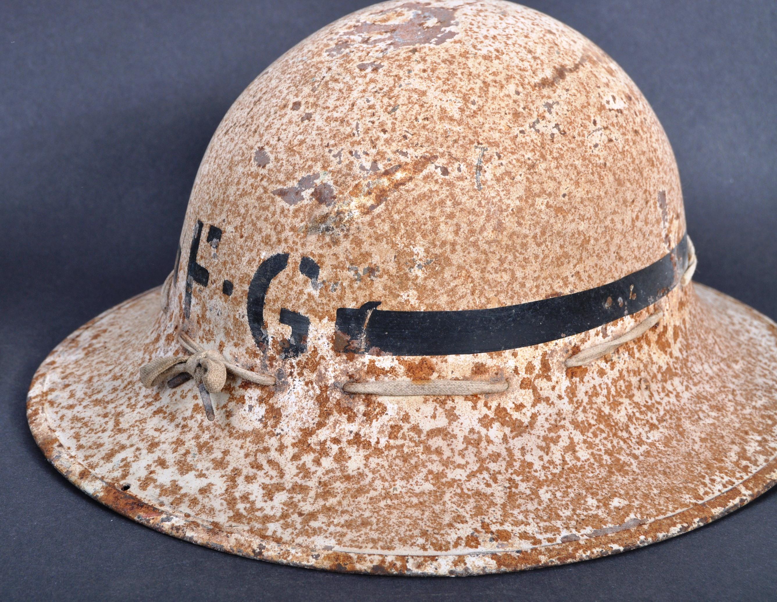 TWO ORIGINAL WWII SECOND WORLD WAR BRITISH COMBAT HELMETS - Image 3 of 7