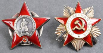 TWO ORIGINAL WWII SOVIET RUSSIAN UNION BATTLE ORDER MEDALS