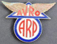WWII SECOND WORLD WAR INTEREST - ARP AVRO ENAMEL BADGE