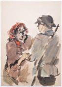 WWII SECOND WORLD WAR WATERCOLOUR PAINTING OF NAZI 1943