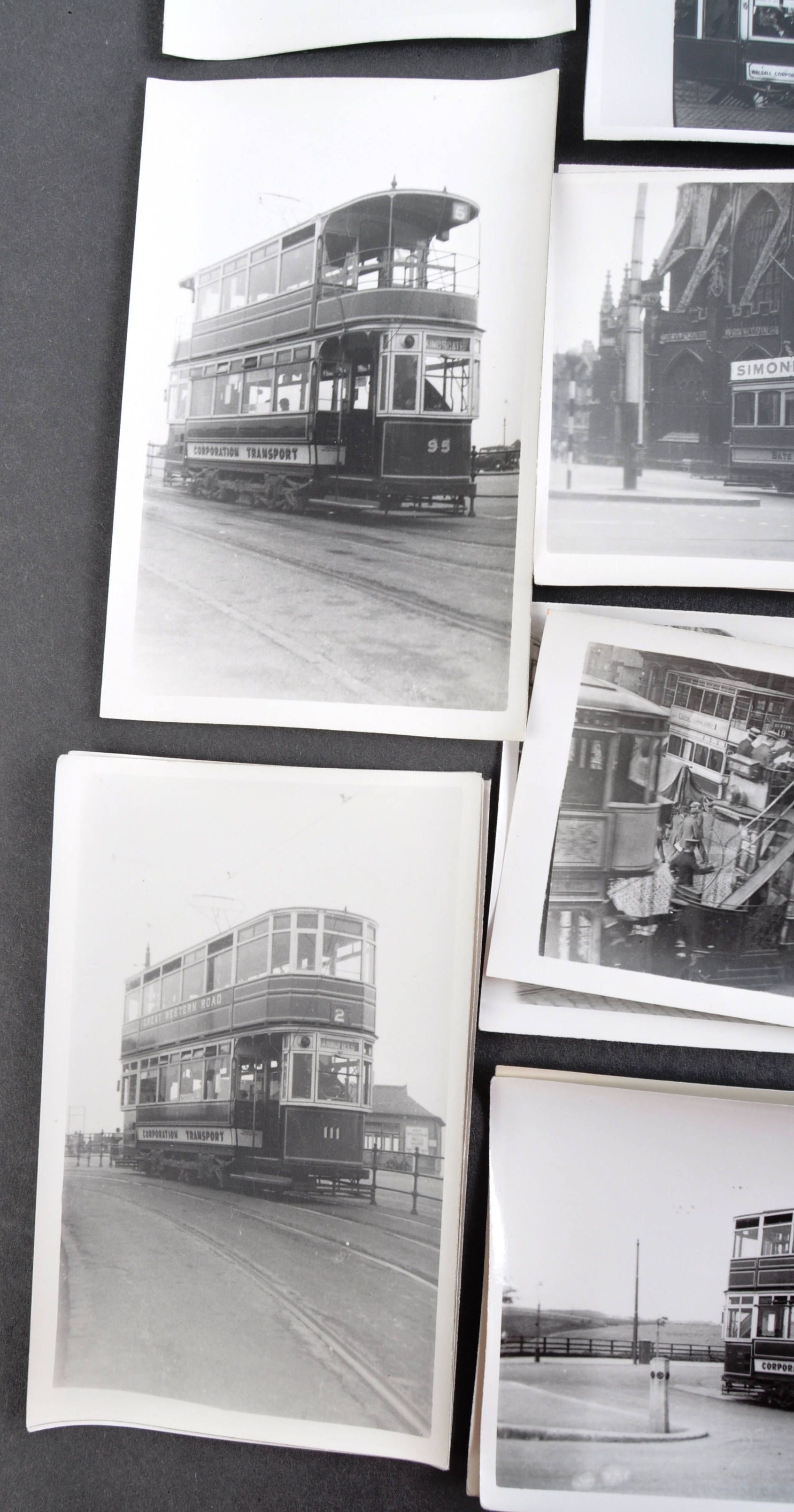 TRAMS & TROLLEY BUSES - LARGE COLLECTION OF BLACK AND WHITE PHOTOS - Image 7 of 9