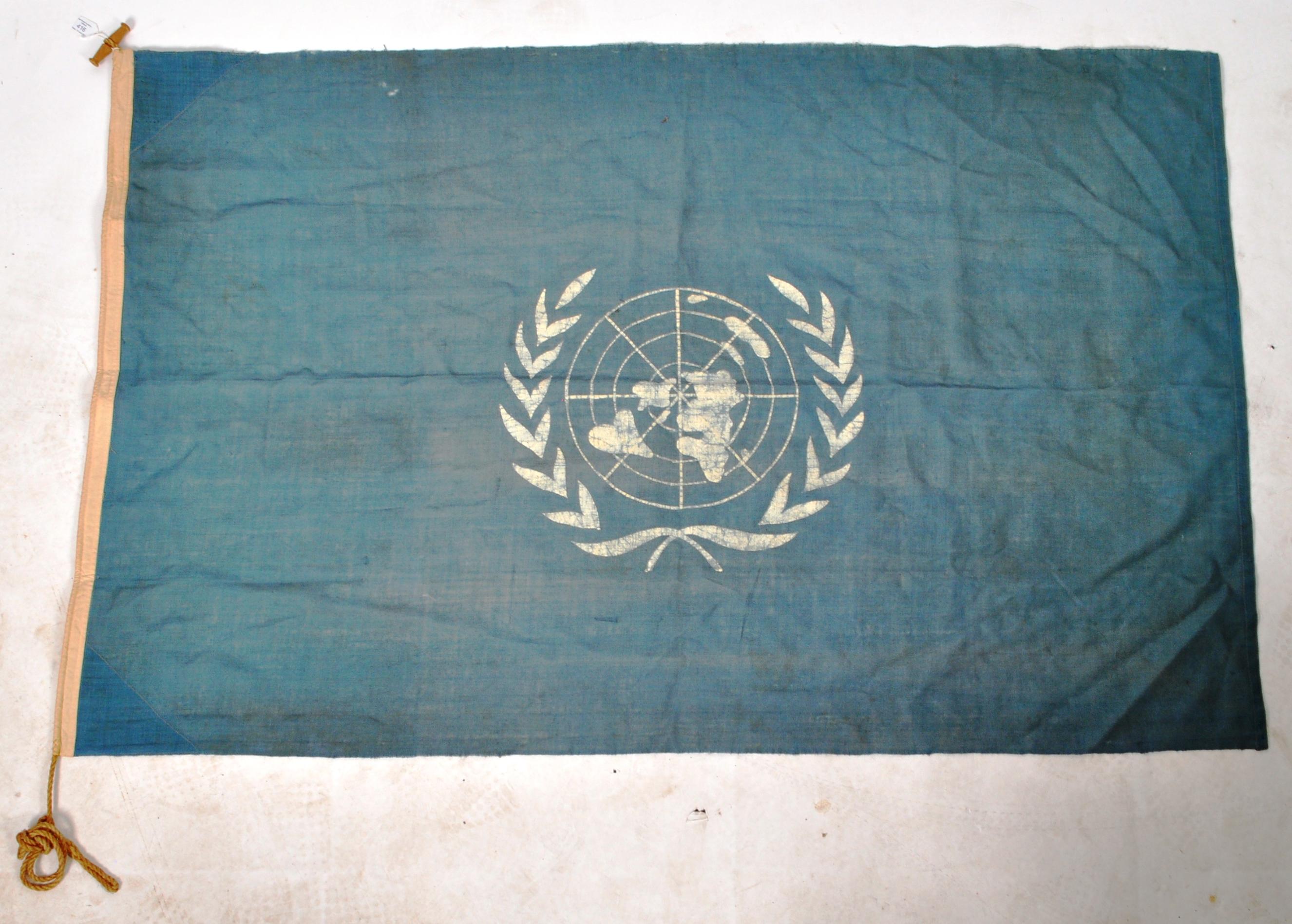 VINTAGE C1950S KOREAN WAR ERA UN UNITED NATIONS FLAG