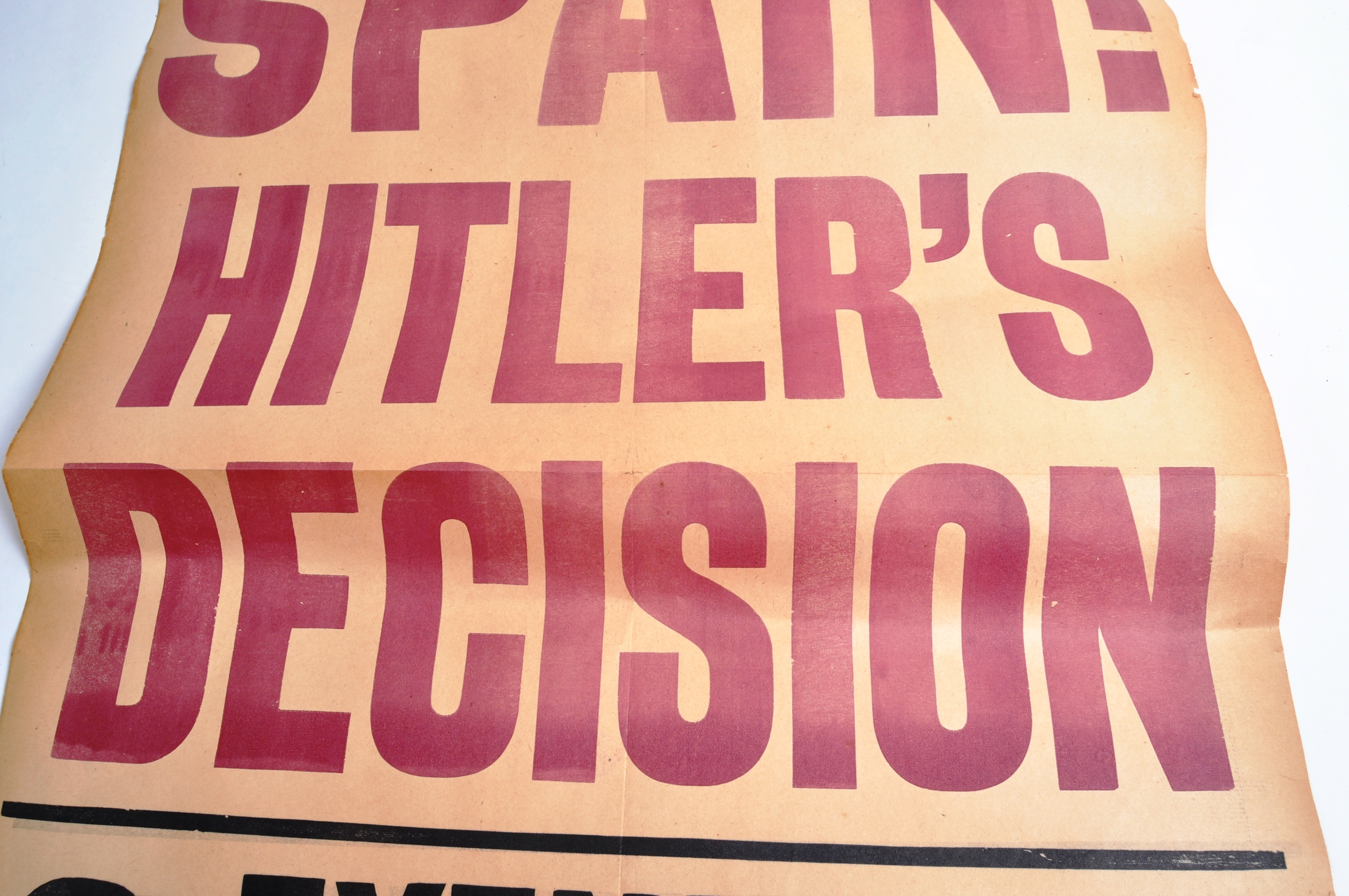 RARE EVENING STANDARD HITLER RELATED NEWSPAPER STAND POSTER - Image 3 of 4