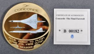 LIMITED EDITION CONCORDE FINAL FLIGHT COMMEMORATIVE MEDAL