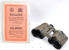 BATTLE DAMAGED WWII GERMAN LEITZ BINOCULARS & SAFE CONDUCT PASS
