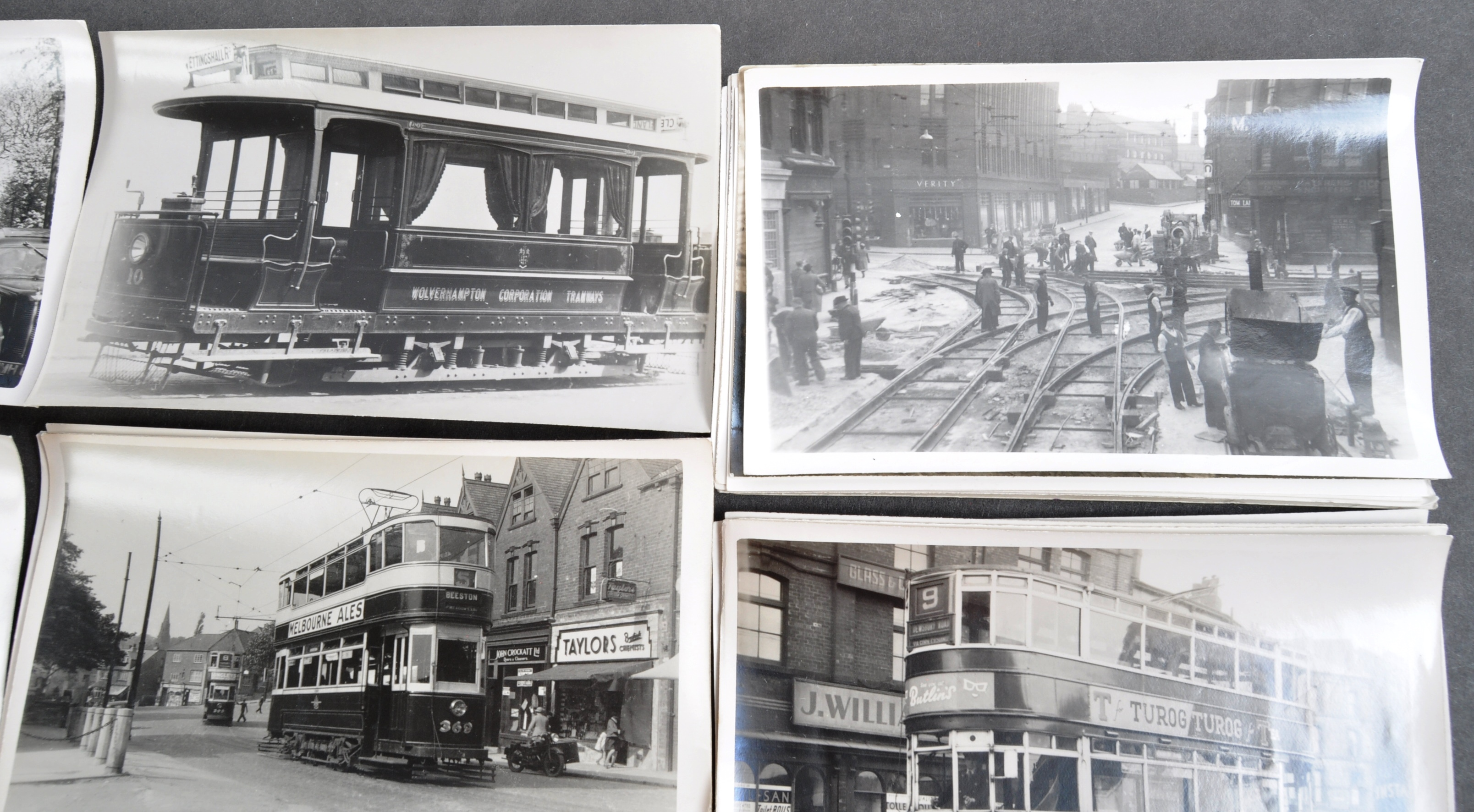 TRAMS & TROLLEY BUSES - LARGE COLLECTION OF BLACK AND WHITE PHOTOS - Image 4 of 9