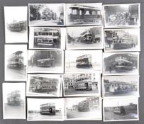 TRAMS & TROLLEY BUSES - LARGE COLLECTION OF BLACK AND WHITE PHOTOS