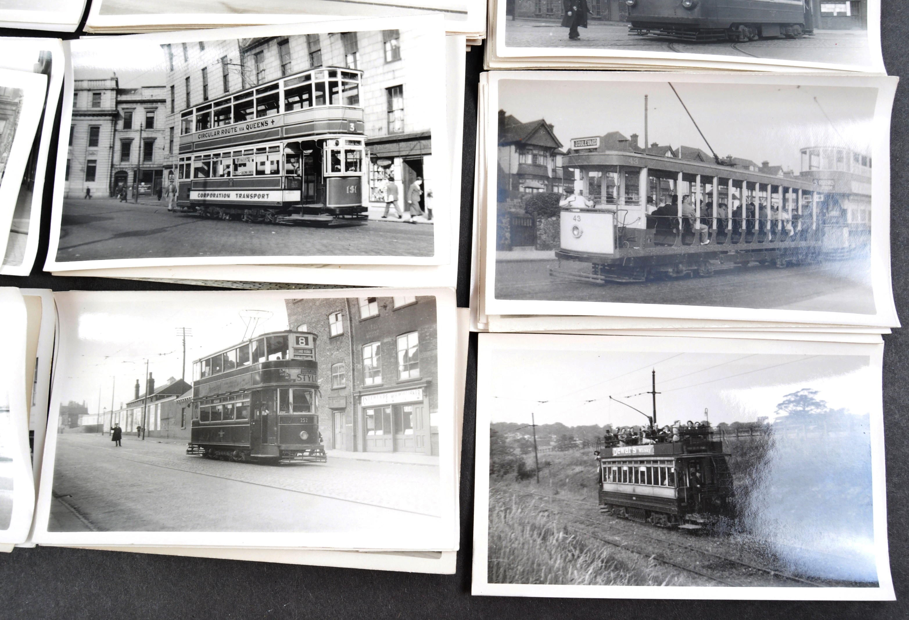 TRAMS & TROLLEY BUSES - LARGE COLLECTION OF BLACK AND WHITE PHOTOS - Image 2 of 9