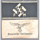 TWO WWII SECOND WORLD WAR GERMAN THIRD REICH ARM BANDS