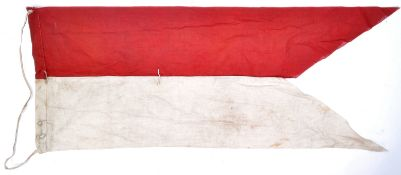 UNUSUAL WWII SECOND WORLD WAR UNIT FLAG - RED & WHITE
