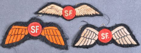 WWII INTEREST ' SF ' JEDBURGH CLOTH UNIFORM PATCHES