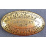 EARLY 20TH CENTURY BRASS TOBACCO TIN OF LOCAL INTEREST