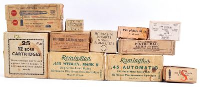 COLLECTION OF ASSORTED WWII AND LATER AMMUNITION BOXES