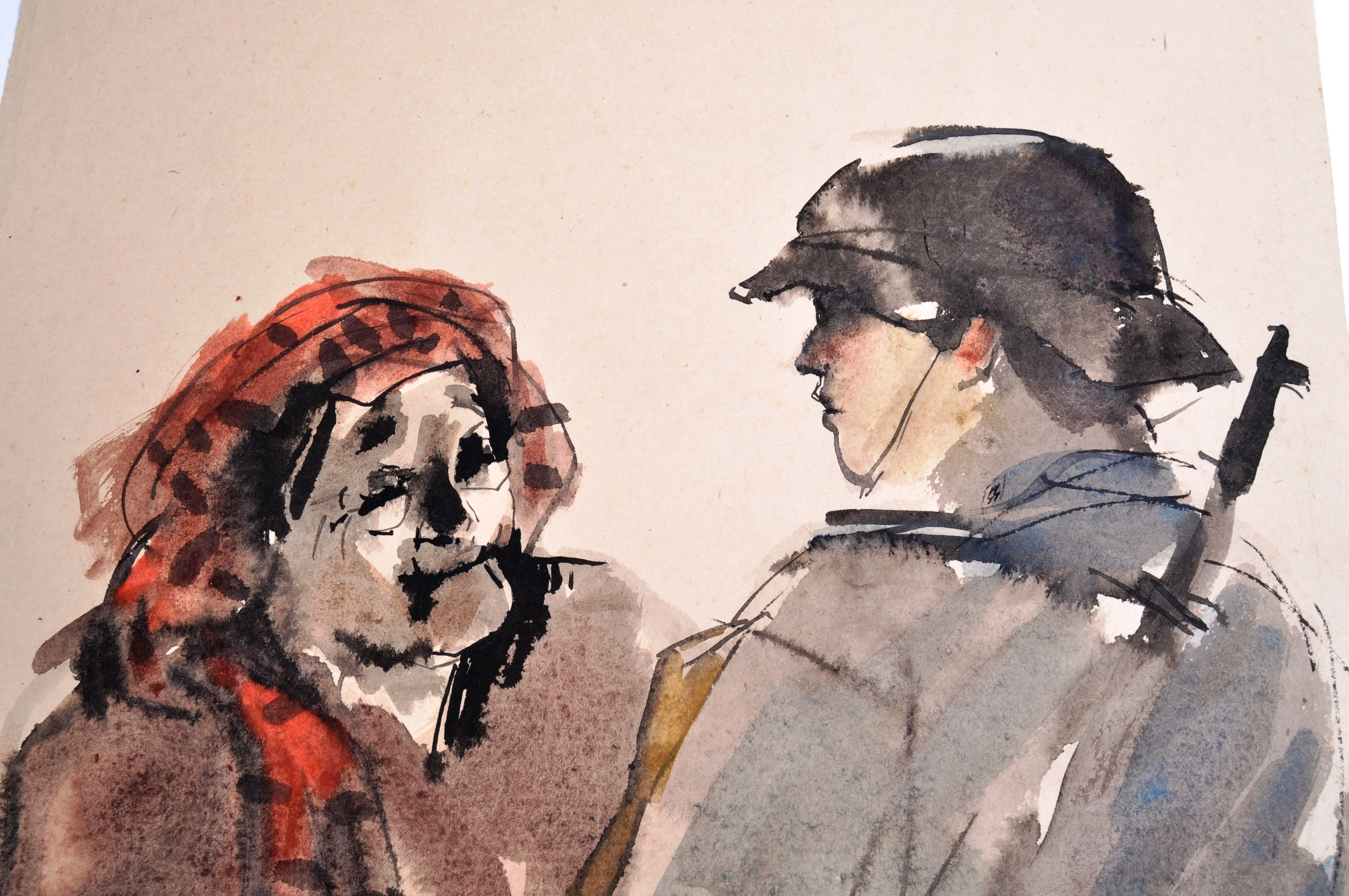WWII SECOND WORLD WAR WATERCOLOUR PAINTING OF NAZI 1943 - Image 5 of 6