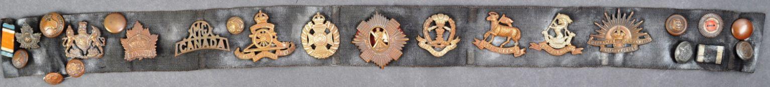 ORIGINAL WWI FIRST WORLD WAR 'GLORY' CAP BADGE BELT, WITH PROVENANCE