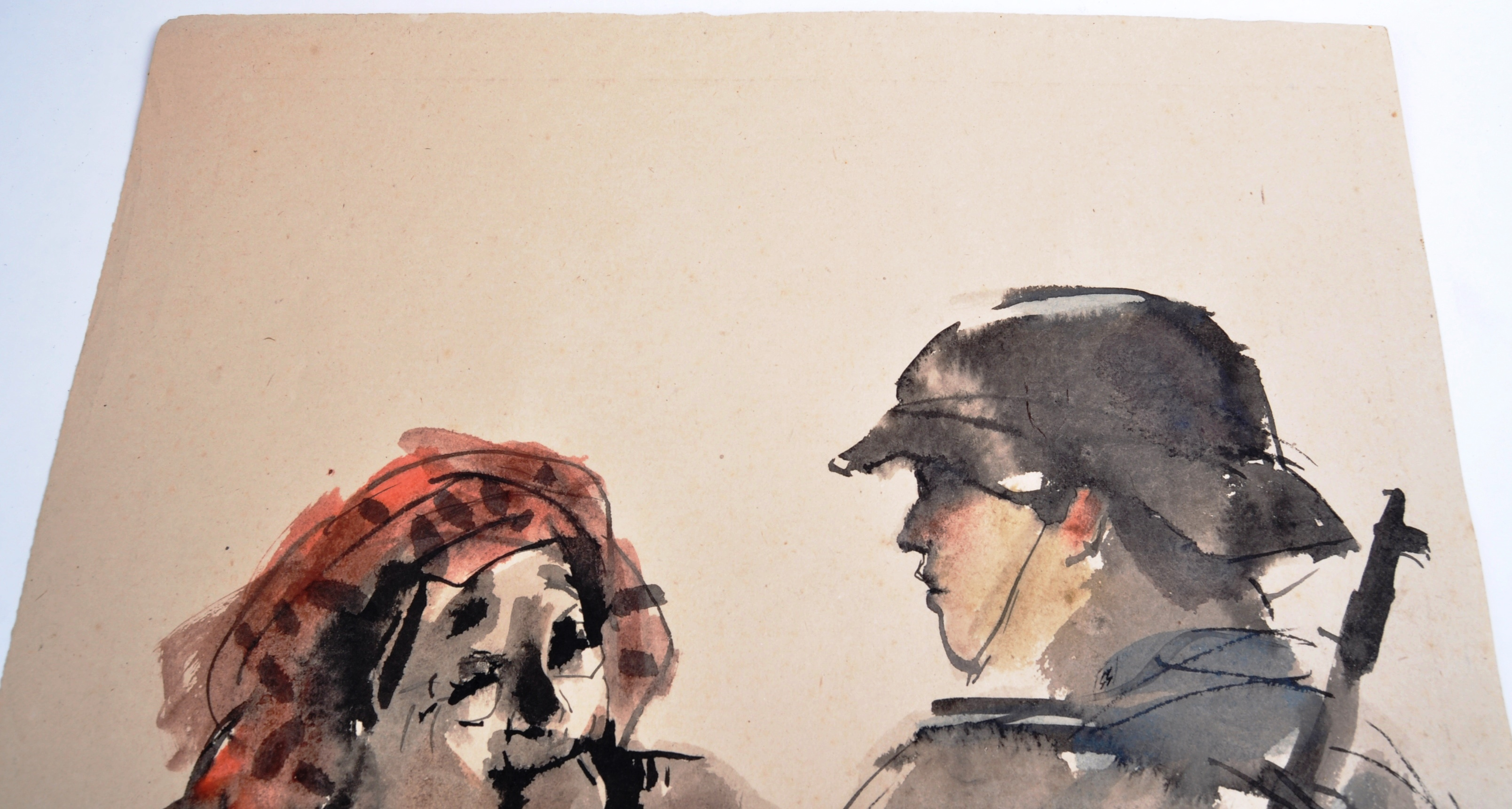WWII SECOND WORLD WAR WATERCOLOUR PAINTING OF NAZI 1943 - Image 6 of 6
