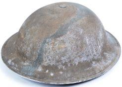 ORIGINAL WWII SECOND WORLD WAR BRITISH ARMY CAMOUFLAGE BRODIE HELMET