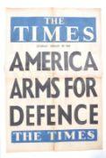 RARE ORIGINAL 1938 THE TIMES NEWSPAPER ADVERTISING POSTER - AMERICA