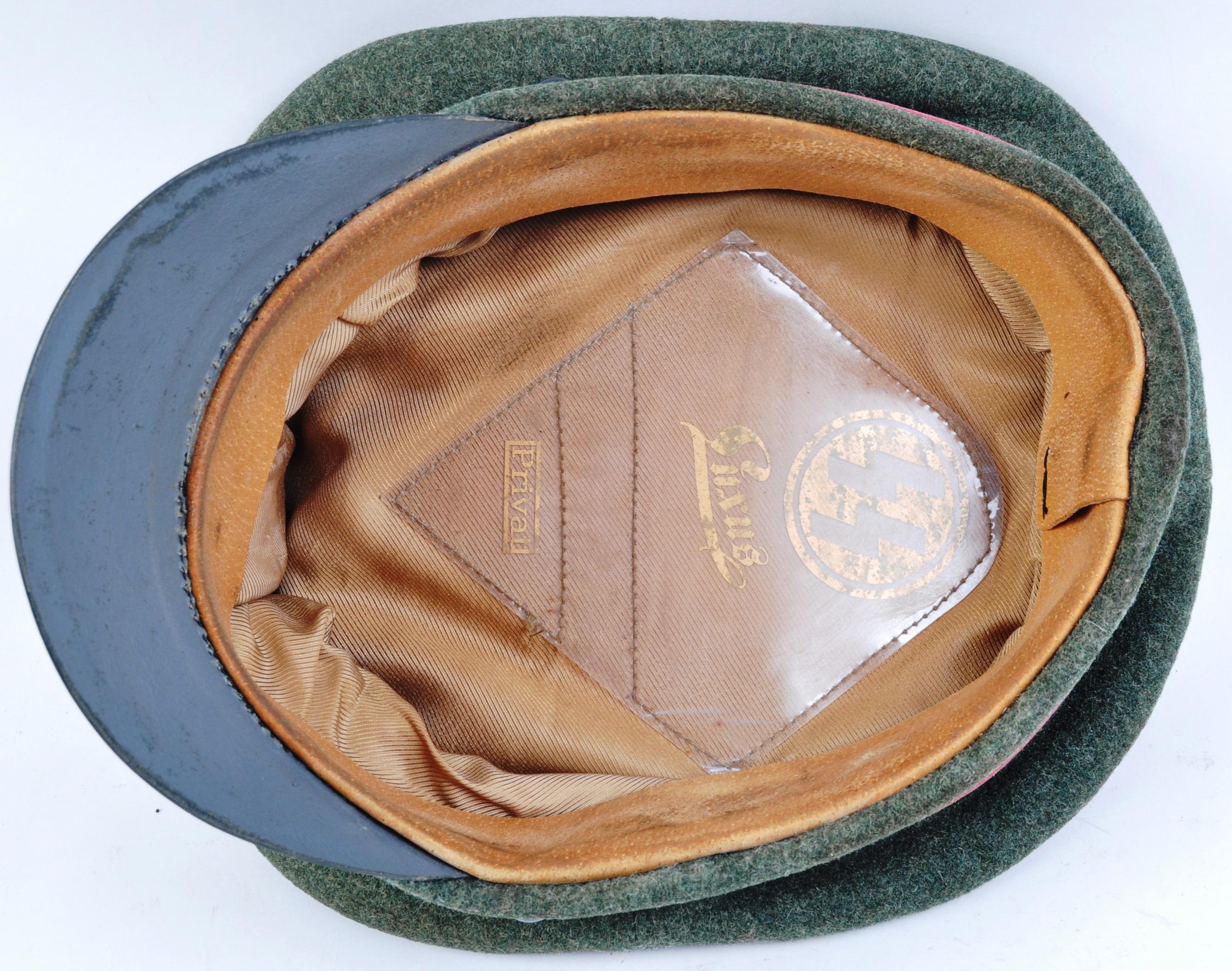 WWII SECOND WORLD WAR INTEREST - SS GERMAN PEAKED UNIFORM CAP - Image 4 of 5