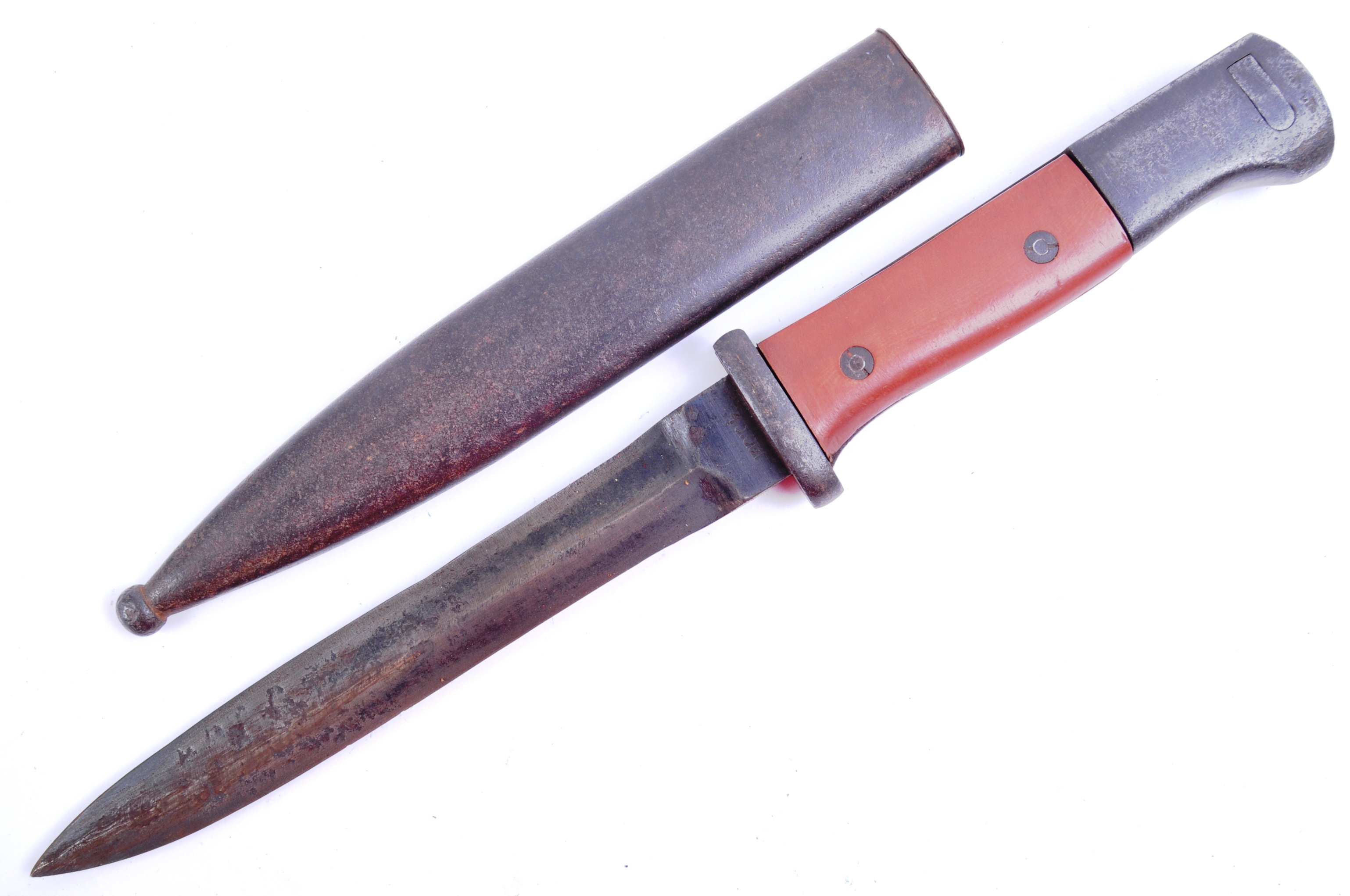 A WWII Second World War Third Reich Nazi German trench combat knife / boot knife styled on an SG84/