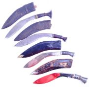 COLLECTION OF ANTIQUE & 20TH CENTURY KUKRI KNIVES