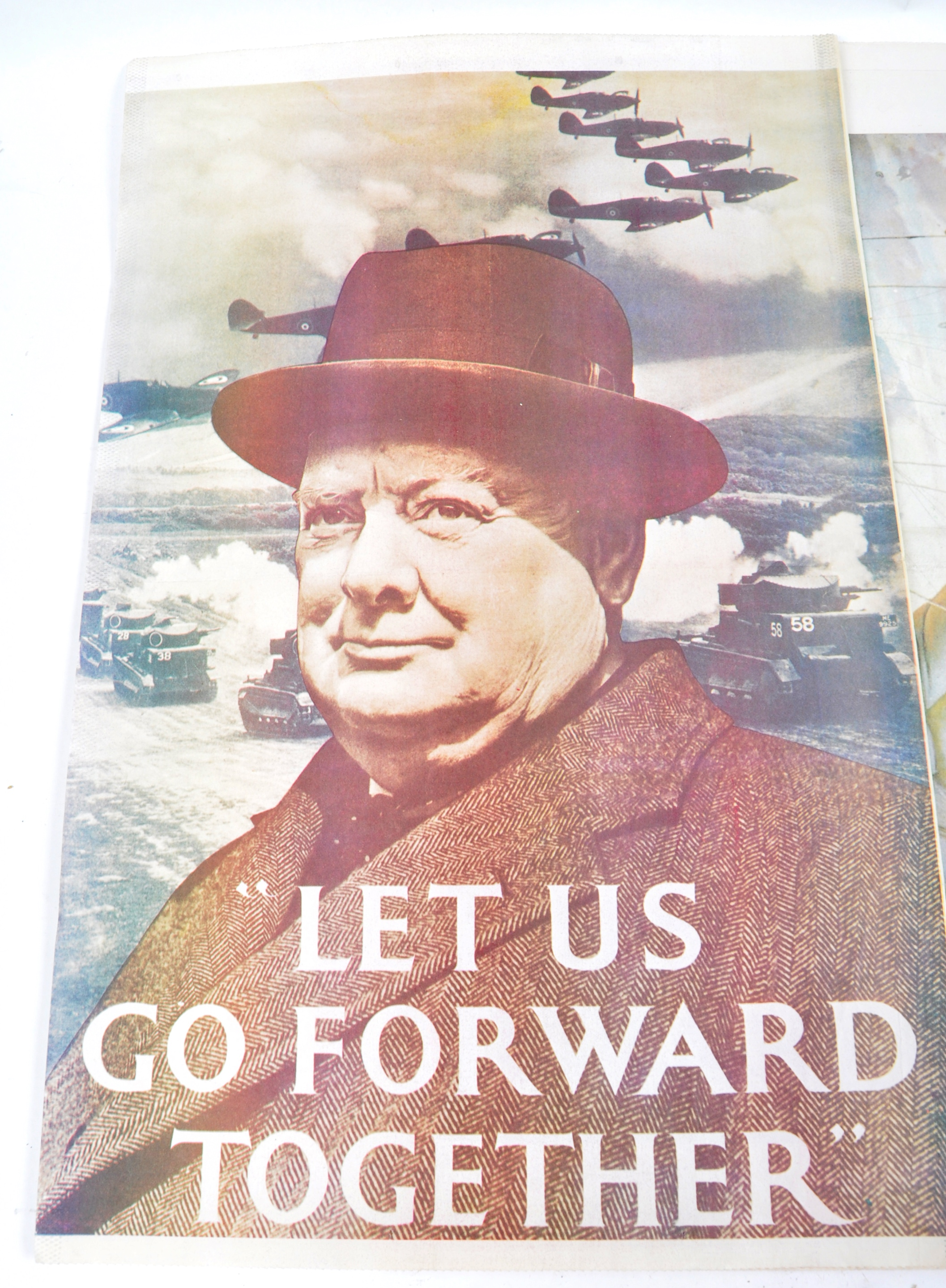 WWII SECOND WORLD WAR POSTERS - CHURCHILL, AFS, HOME FRONT ETC - Image 2 of 6