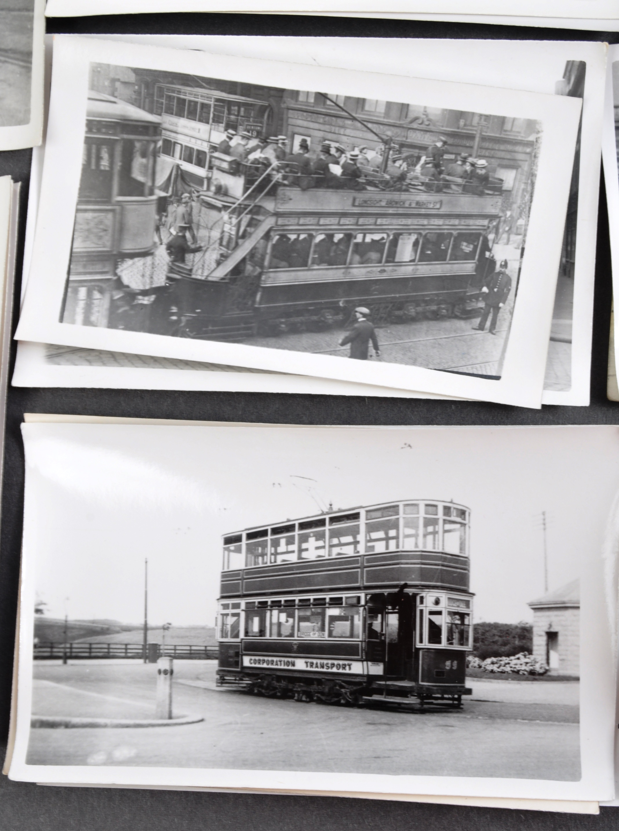 TRAMS & TROLLEY BUSES - LARGE COLLECTION OF BLACK AND WHITE PHOTOS - Image 6 of 9