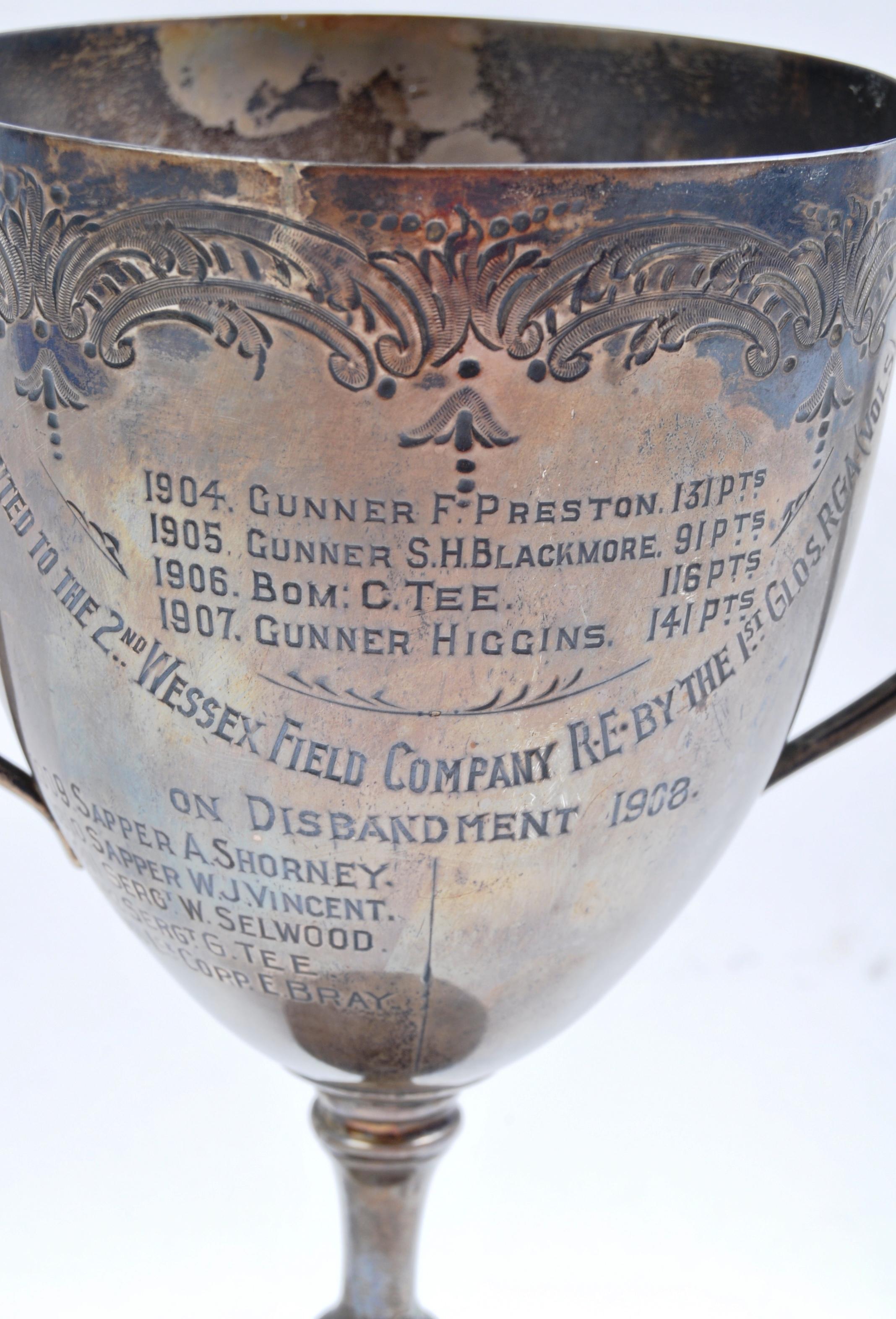 BOER WAR INTEREST - 2ND WESSEX FIELD COMPANY LARGE SILVER TROPHY - Image 6 of 8