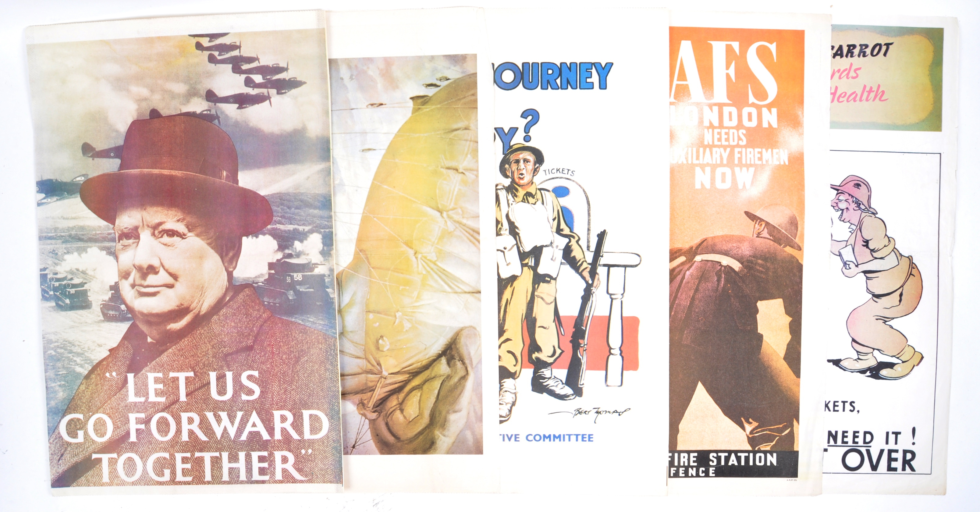WWII SECOND WORLD WAR POSTERS - CHURCHILL, AFS, HOME FRONT ETC