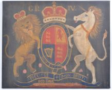 OIL ON CANVAS - KING GEORGE IV COAT OF ARMS