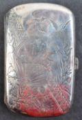 19TH CENTURY 14TH HIGHLANDERS ANTIQUE SILVER CIGARETTE BOX