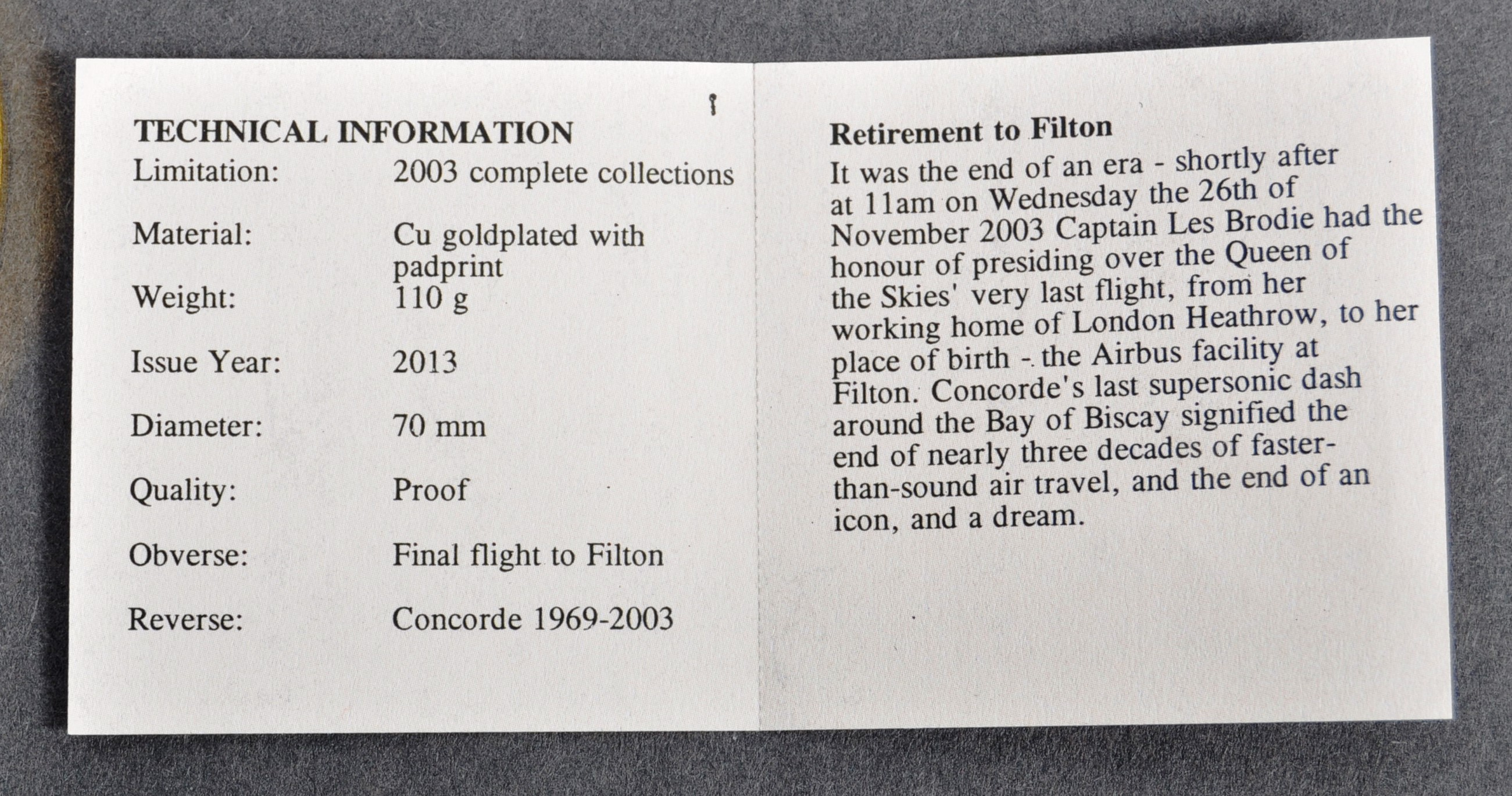 LIMITED EDITION CONCORDE FINAL FLIGHT COMMEMORATIVE MEDAL - Image 4 of 5