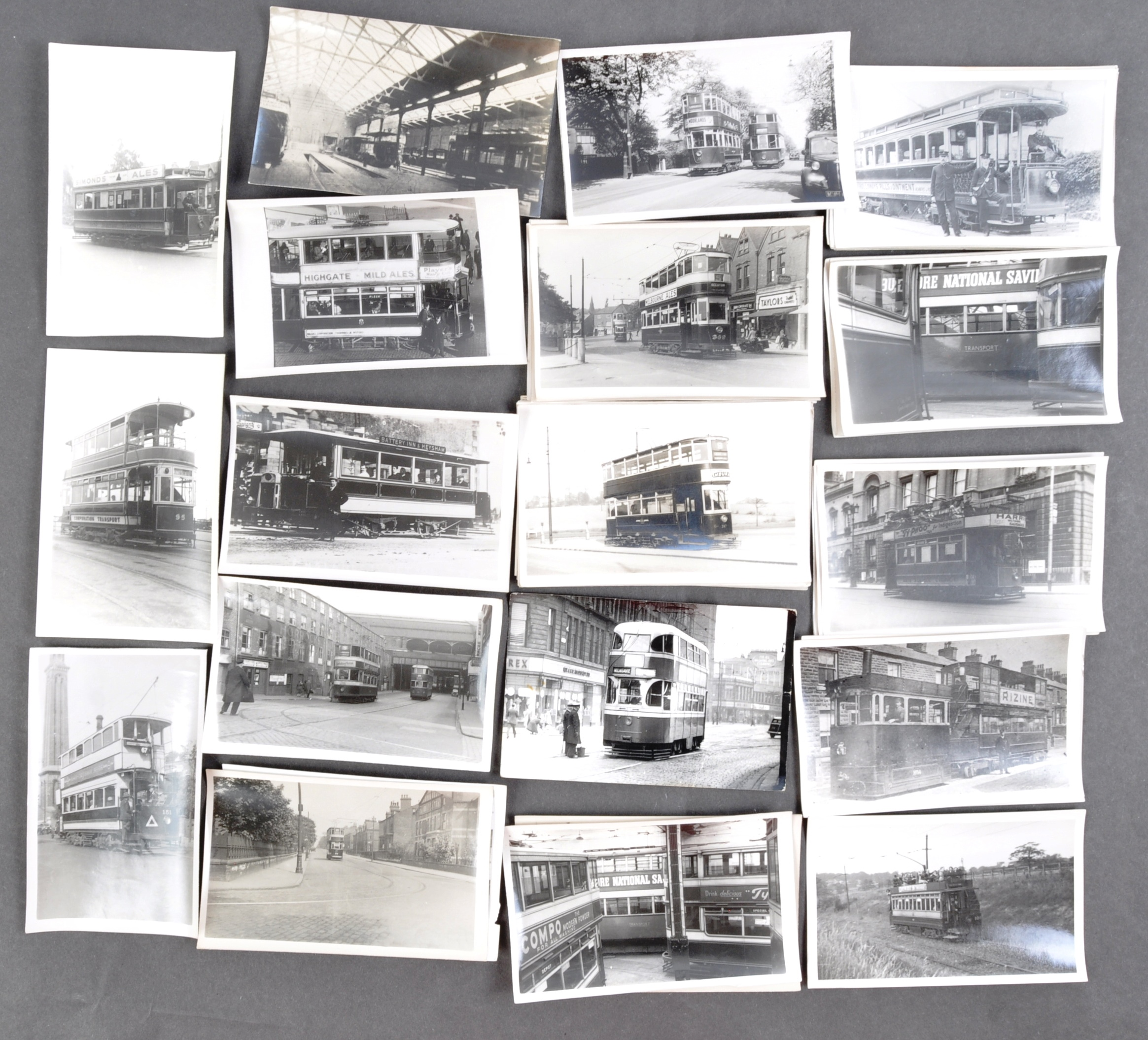 TRAMS & TROLLEY BUSES - LARGE COLLECTION OF BLACK AND WHITE PHOTOS - Image 9 of 9