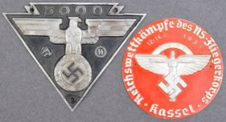 TWO WWII SECOND WORLD WAR GERMAN THIRD REICH PLAQUE BADGES