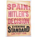RARE EVENING STANDARD HITLER RELATED NEWSPAPER STAND POSTER