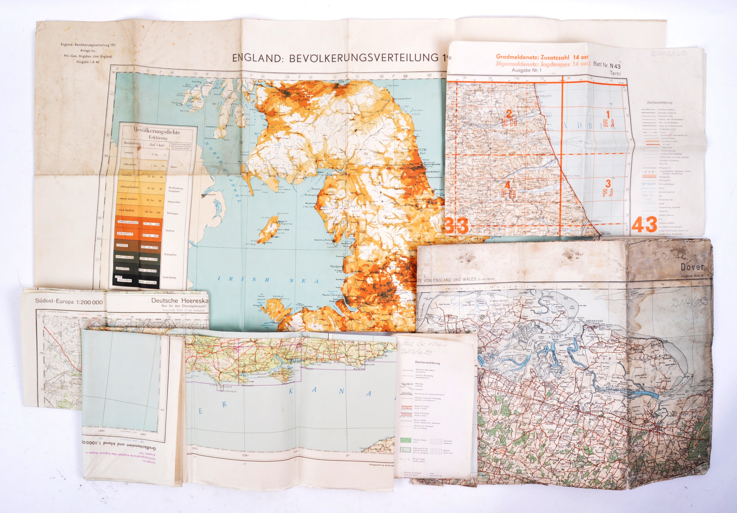 COLLECTION OF X6 ASSORTED WWII GERMAN ARMY MAPS